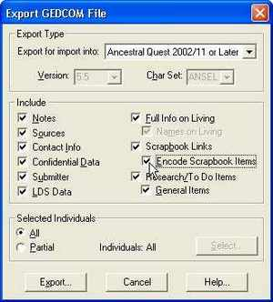 AQ 11 Export GEDCOM dialog box