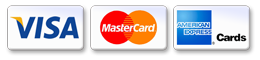 Visa, MasterCard, American Express cards welcomed